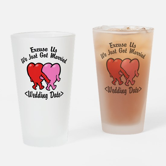 Funny Just Married (Add Wedding Date) Drinking Gla