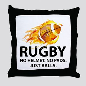 Rugby Just Balls Throw Pillow