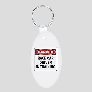 Race Driver Aluminum Oval Keychain