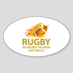 Rugby Just Balls Sticker (Oval)