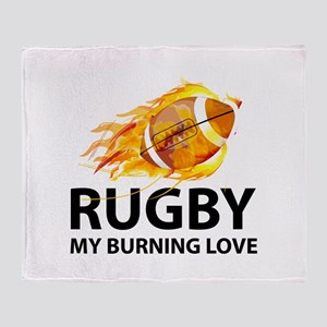 Rugby My Burning Love Throw Blanket