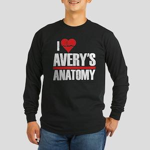 I Heart Avery's Anatomy Long Sleeve Dark T-Shirt