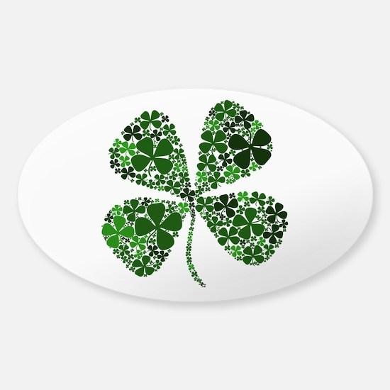 Lucky 4 Leaf Clover Irish Sticker (Oval)