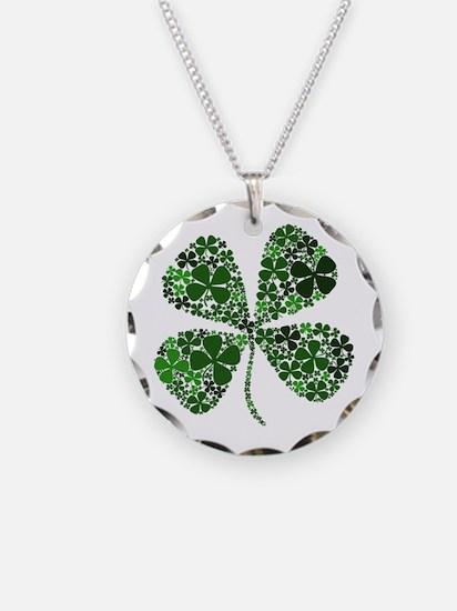 Lucky 4 Leaf Clover Irish Necklace Circle Charm