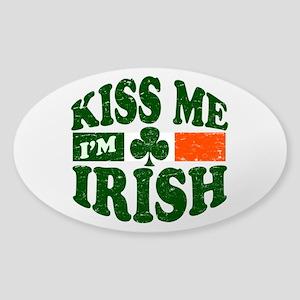 Kiss Me Im Irish Sticker (Oval)