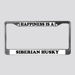 Happiness Is A Siberian Husky License Plate Frame