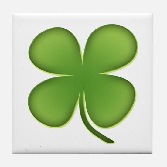 Lucky Irish Four Leaf Clover Tile Coaster