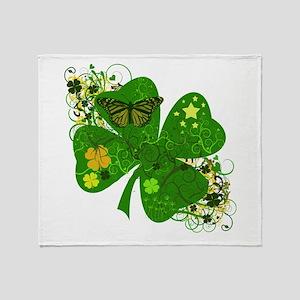 Lucky Irish Four Leaf Clover Throw Blanket