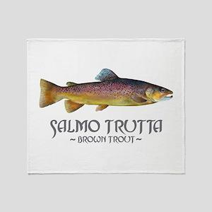Salmo Trutta - Brown Trout Throw Blanket