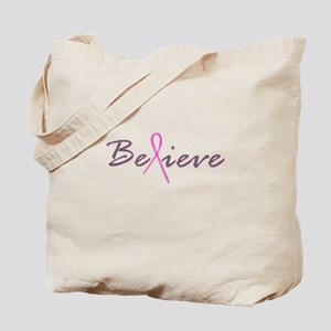 Believe Breast Cancer Tote Bag