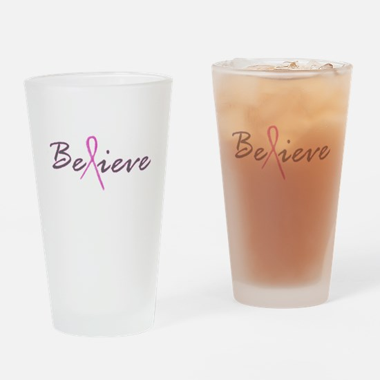 Believe Breast Cancer Drinking Glass