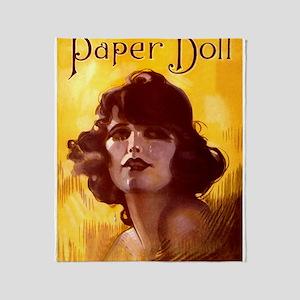 Paper Doll Vintage Art Throw Blanket