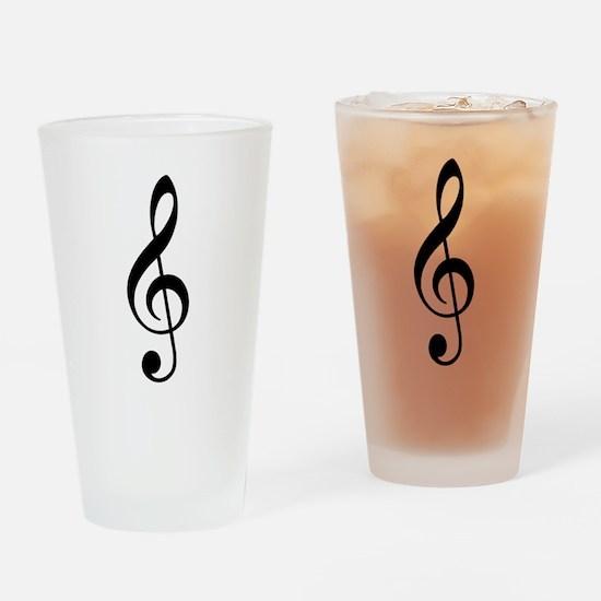 Trad Basic Black Treble Clef Drinking Glass