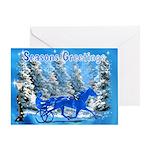 Blue Horse Xmas Greeting Card
