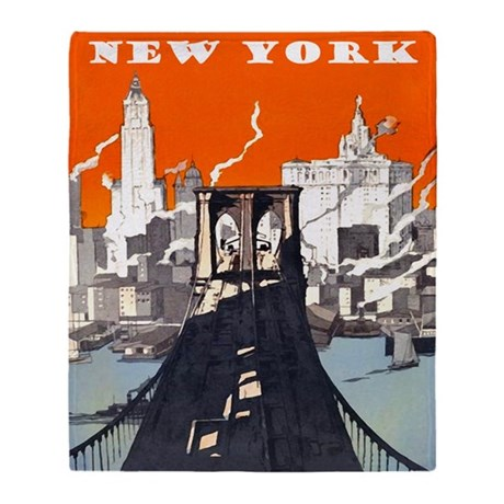 New York Brooklyn Bridge Throw Blanket