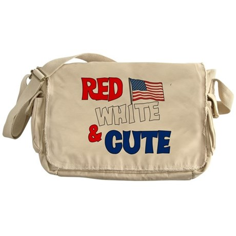 Red white and cute Messenger Bag