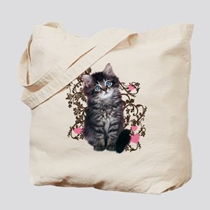 Cute Blue Eyed Tabby Cat Tote Bag