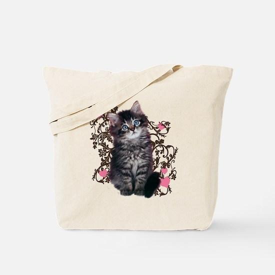 Cute Blue-eyed Tabby Cat Tote Bag