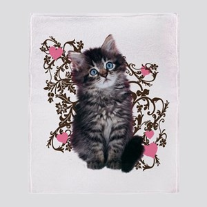 Cute Blue-eyed Tabby Cat Throw Blanket