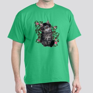 Cute Blue-eyed Tabby Cat Dark T-Shirt