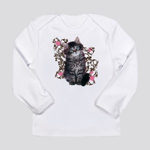 Cute Blue-eyed Tabby Cat Long Sleeve Infant T-Shir