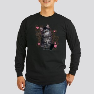 Cute Blue-eyed Tabby Cat Long Sleeve Dark T-Shirt