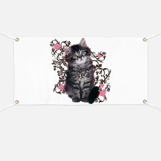 Cute Blue-eyed Tabby Cat Banner