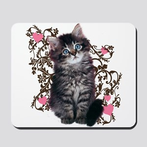 Cute Blue-eyed Tabby Cat Mousepad