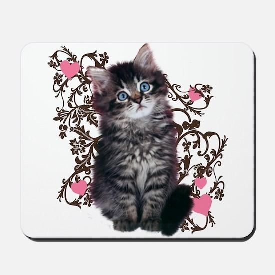 Cute Blue-eyed Tabby Cat Mousepad
