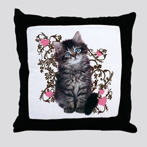 Cute Blue-eyed Tabby Cat Throw Pillow