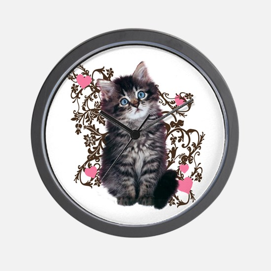 Cute Blue-eyed Tabby Cat Wall Clock