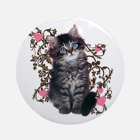 Cute Blue-eyed Tabby Cat Ornament (Round)