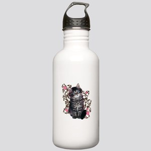 Cute Blue-eyed Tabby Cat Stainless Water Bottle 1.
