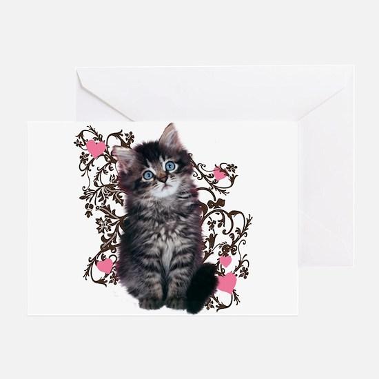 Cute Blue-eyed Tabby Cat Greeting Card