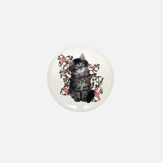 Cute Blue-eyed Tabby Cat Mini Button