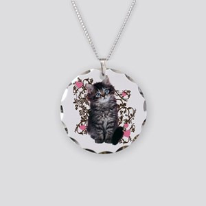 Cute Blue-eyed Tabby Cat Necklace Circle Charm