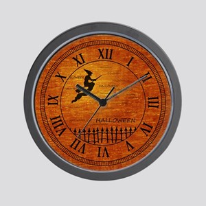 Flying Halloween Witch Wall Clock