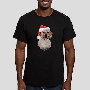 Yellow Lab Santa Men's Fitted T-Shirt (dark)
