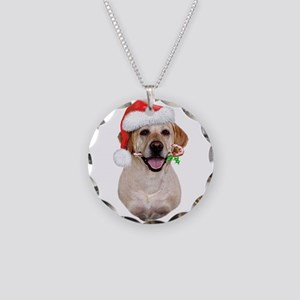 Yellow Lab Santa Necklace Circle Charm