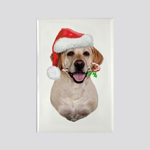 Yellow Lab Santa Rectangle Magnet
