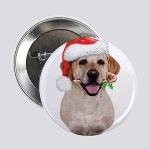 "Yellow Lab Santa 2.25"" Button"