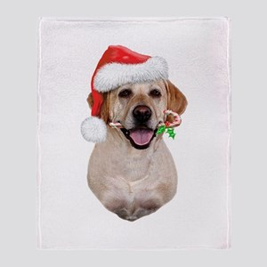 Yellow Lab Santa Throw Blanket