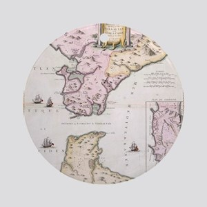Vintage Map of The Strait of Gibral Round Ornament
