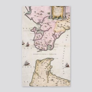 Vintage Map of The Strait of Gibraltar (1 Area Rug