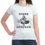 Jesus Is Lowered Jr. Ringer T-Shirt