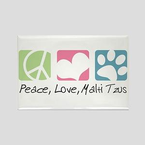 Peace, Love, Malti Tzus Rectangle Magnet