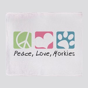 Peace, Love, Morkies Throw Blanket