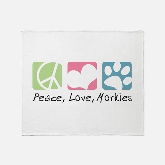 Peace, Love, Morkies Throw Blanket