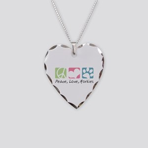 Peace, Love, Morkies Necklace Heart Charm