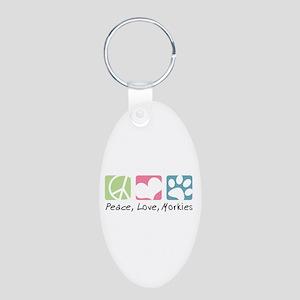 Peace, Love, Morkies Aluminum Oval Keychain